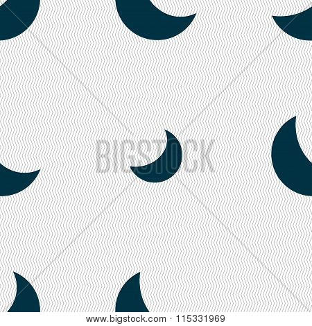 Moon Icon Sign. Seamless Pattern With