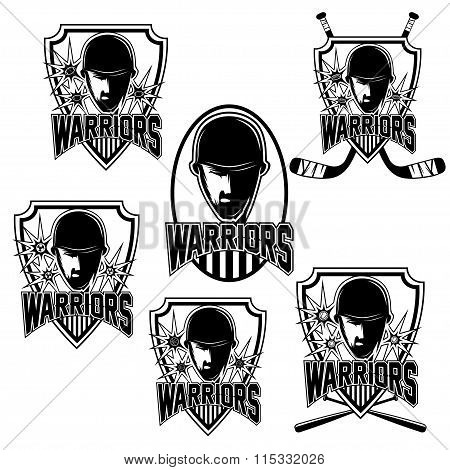 Set Of Vintage Sports Clubs With Warrior Face