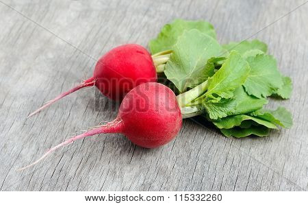 Ripe Radishes With Leaves