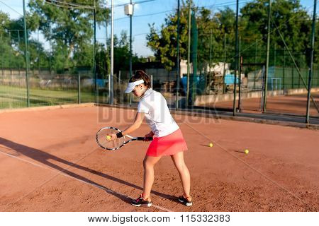 Tennis Sportswoman Playing On Clay Court. Healthy Fitness, Atractive Girl Playing Tennis