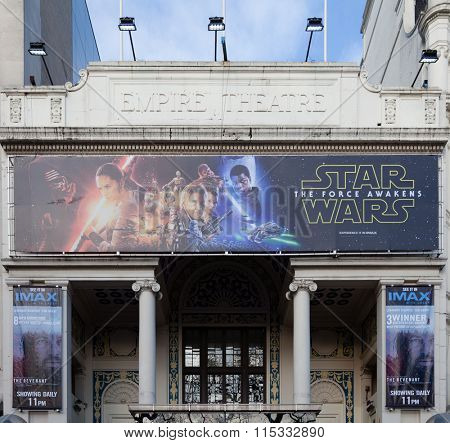 LONDON, UNITED KINGDOM - JANUARY, 2016: Empire Theatre in Central London showing Star Wars VII