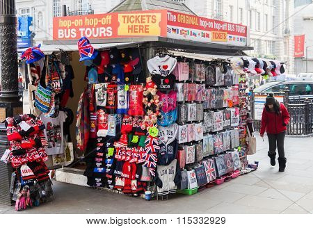 LONDON, UNITED KINGDOM - JANUARY, 2016: Souvenir stand on Piccadilly Circus