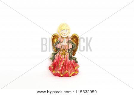 Figurine Of Angel On White Background