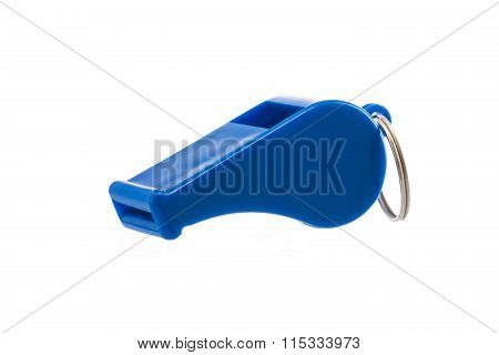 Blue Sport Whistle Isolated On White