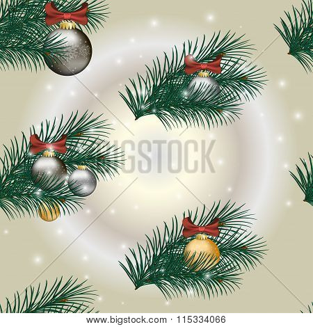 Christmas Gift Wrapping Paper Swatch with shiny decorated balls.