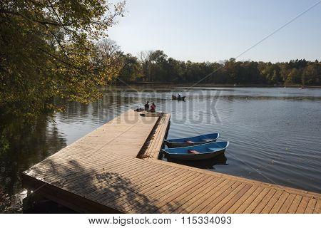 Wooden Mooring And Boats
