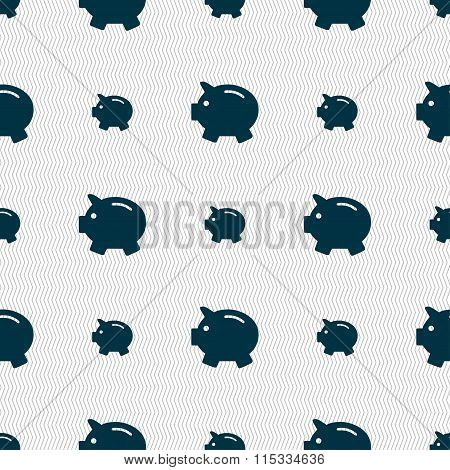 Piggy Bank - Saving Money Icon Sign. Seamless Pattern With Geometric Texture.