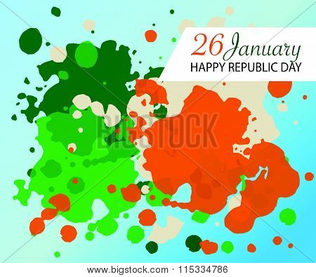 Flat Design Style Happy Republic Day (india) Watercolor Background.