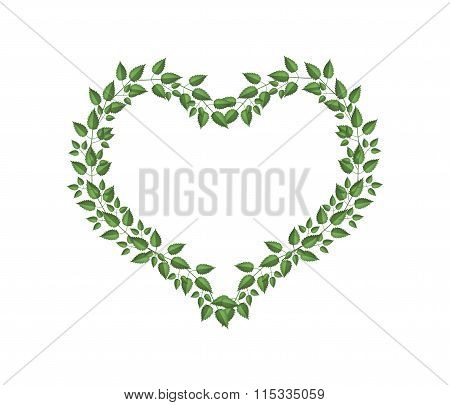 Green Vine Leaves in A Heart Shape