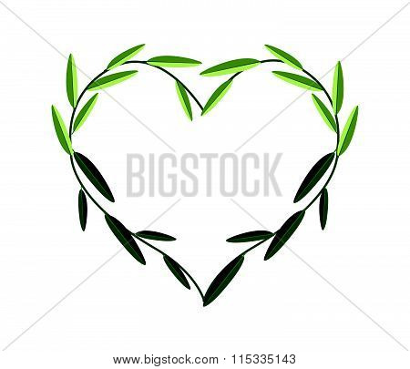 Green Vine Leaves In A Beautiful Heart Shape