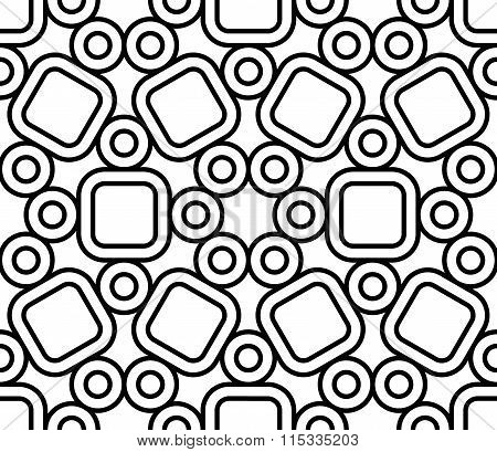 Vector modern seamless sacred geometry pattern cute black and white abstract