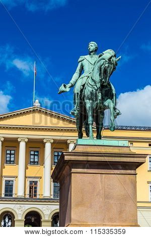 Statue  King Carl Johan Xiv In Oslo