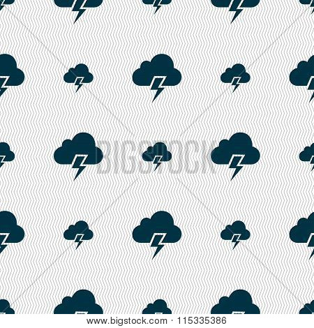 Heavy Thunderstorm Icon Sign. Seamless Pattern With Geometric Texture.