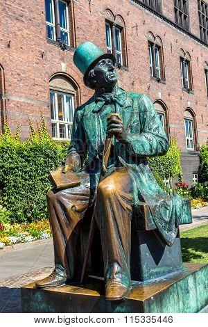 Hans Christian Andersen Statue In Copenhagen, Denmark.