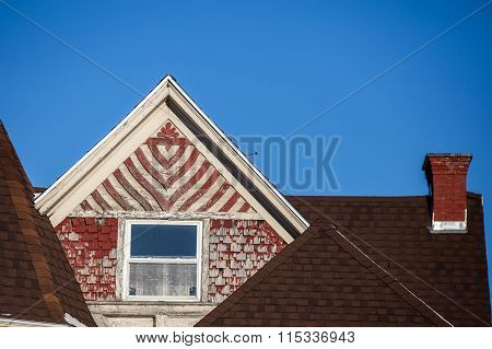 faded wooden red shingles