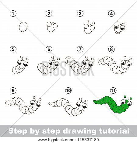 Drawing tutorial. How to draw a Funny Caterpillar