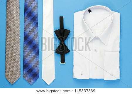 White man shirt with bow and ties