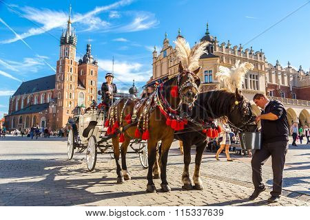 Horse Carriages At Main Square In Krakow