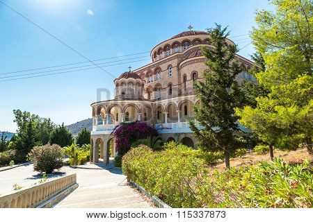 Saint Nektarios Church On Aegina Island, Greece