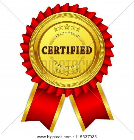 Certified Guaranteed Red Seal Vector Icon