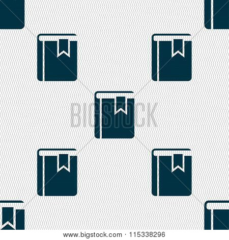 Book Bookmark Icon Sign. Seamless Pattern With Geometric Texture.