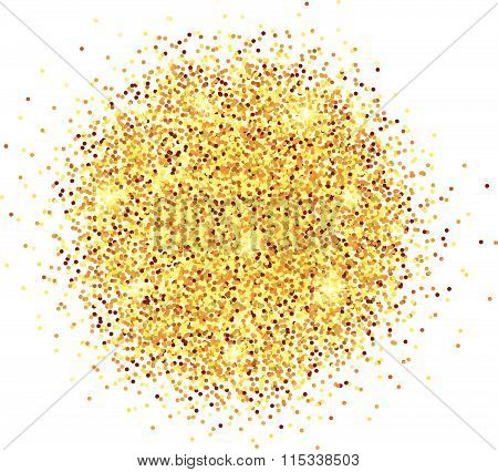 Hand Sketched Golden Glitter Round Background For Valentine's Day