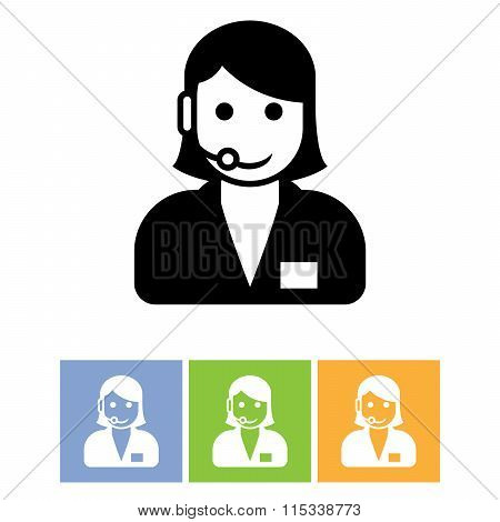 Customer Support Service Icon - Call Center Assistant With Headphones