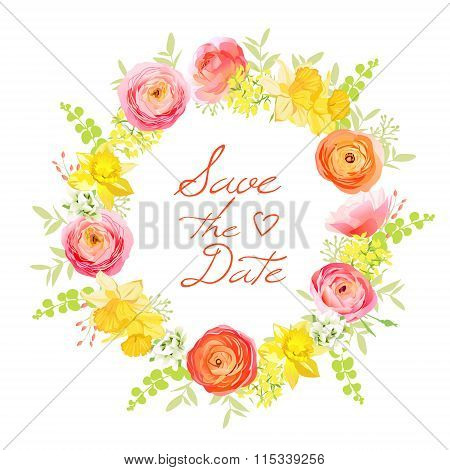 Spring Bunch Of Rose, Ranunculus, Narcissus, Peony, Berry Round Vector Frame