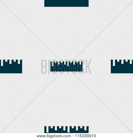 Ruler Icon Sign. Seamless Pattern With Geometric Texture.