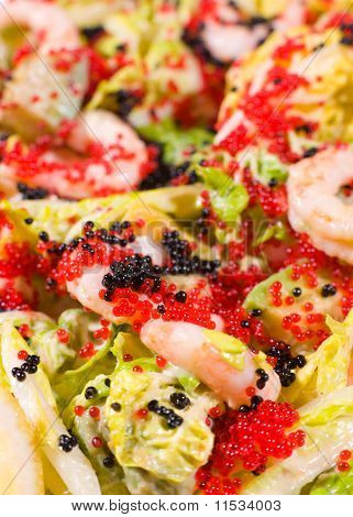 Salad Of Caviar And Shrimps, Macro