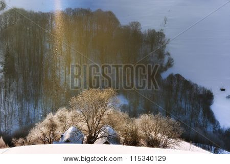 The Poetry Of Lights And Cristal Snow. Lights And Shadows. Holbav. Brasov. Romania Winter Morning La
