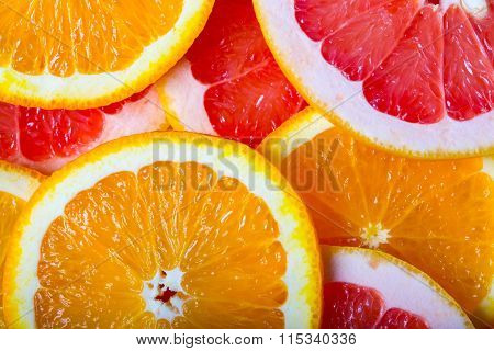 Grapefruits  And Oranges Background