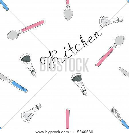 Kitchen Pattern With Hand Drown Lettering, Spoon, Fork, Knife And Flavoring Salt And Pepper Spice. V
