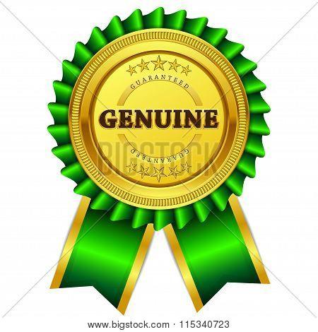 Genuine Guaranteed Green Seal Vector Icon