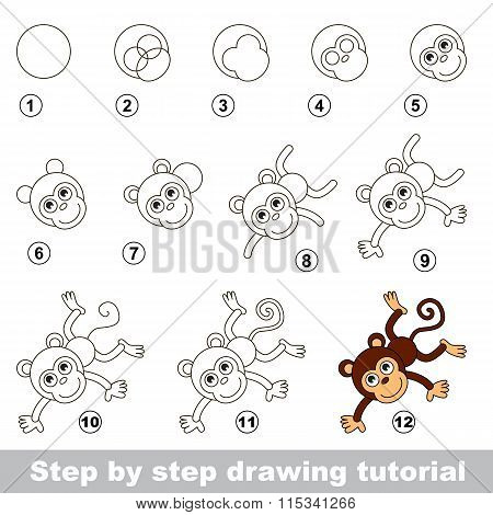 Drawing tutorial. How to draw a Funny Monkey