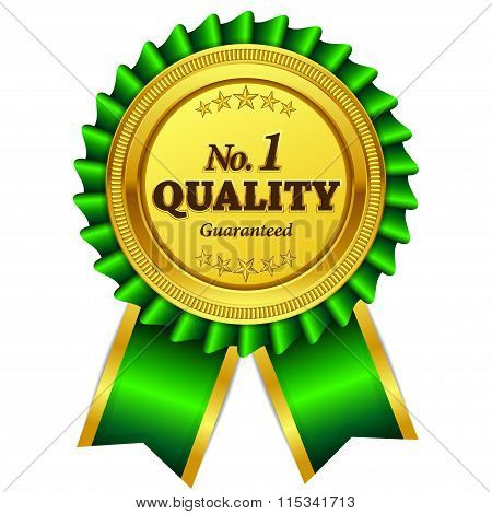 Number One Quality Guaranteed Green Seal Vector Icon