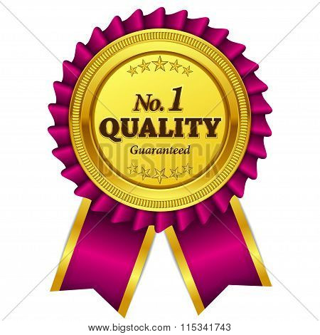 Number One Quality Guaranteed Pink Seal Vector Icon