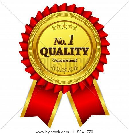 Number One Quality Guaranteed Red Seal Vector Icon