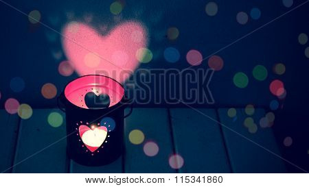 Candle in heart lamp, vintage color style