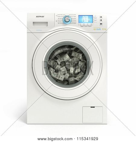 Money Laundering Concept, Banknotes Dollar Machine Washable