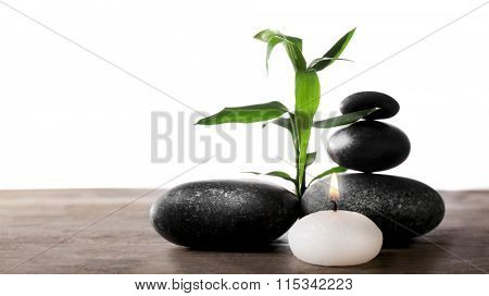 Spa still life with green plant, pebbles and candlelight on white background