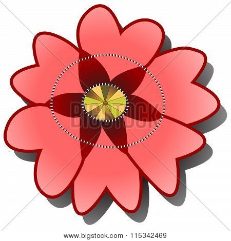 Red Poppy Or Briar On The White Background