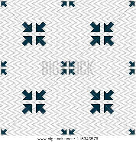 Exit Full Screen Icon Sign. Seamless Pattern With Geometric Texture.