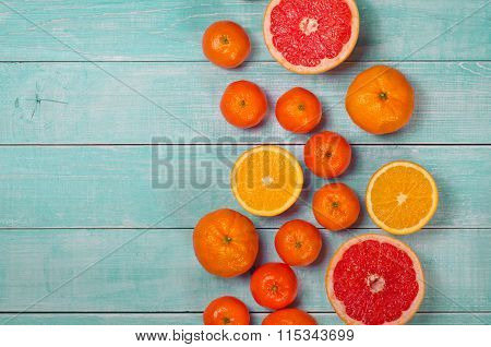Fruits On The Wooden Background