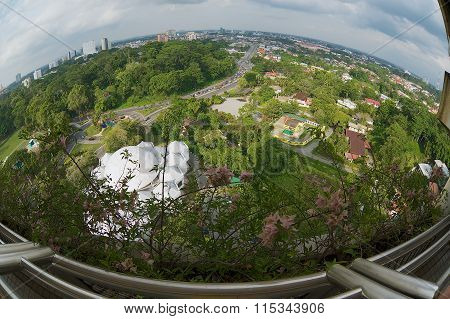 View to the Kuching city from the TV tower in Kuching, Malaysia.