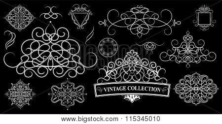 Set Vintage Borders, Frame And Rosette. Decoration For Logo