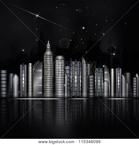 Night Black And White City In Vector. Town With Skyscraper,