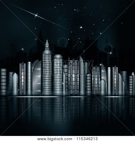 Night Blue Green City In Vector. Town With Skyscraper, River
