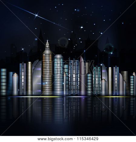 Night Colorful City In Vector. Town With Skyscraper and river