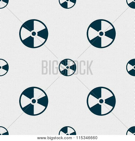 Radioactive Icon Sign. Seamless Pattern With Geometric Texture.